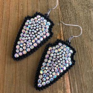 Jewelry - Black Rhinestone Arrowhead Earrings